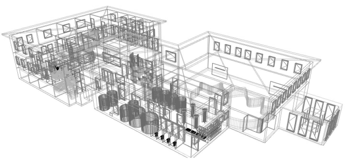 wireframe of hydrotheraphy centre